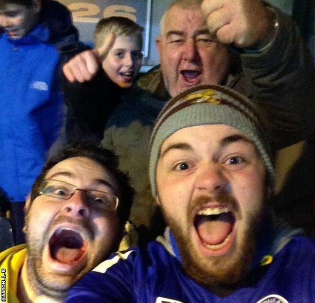 Rochdale fan Aaron and family post match
