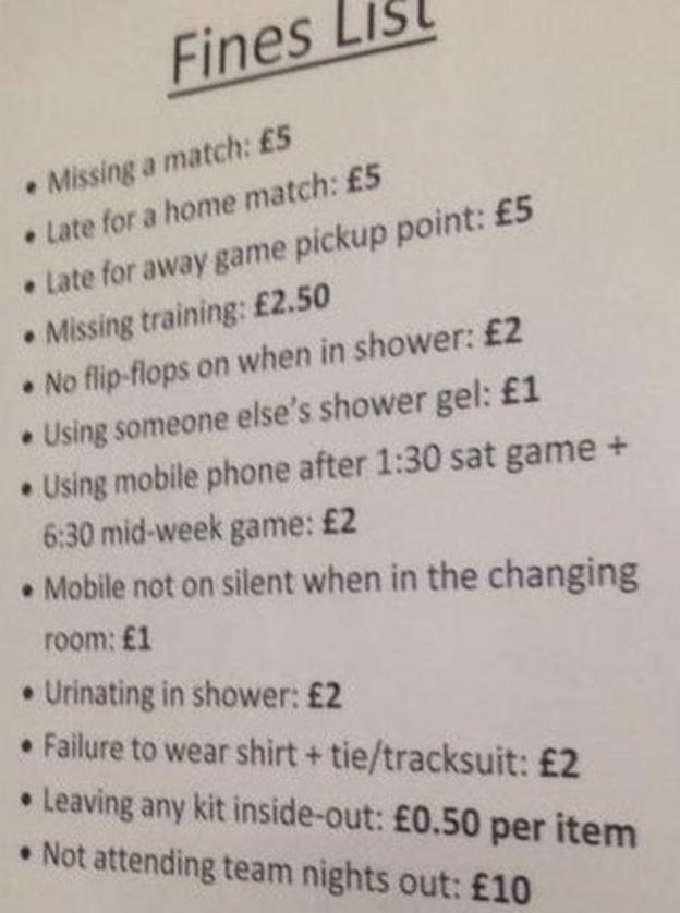 Fines list at Blyth