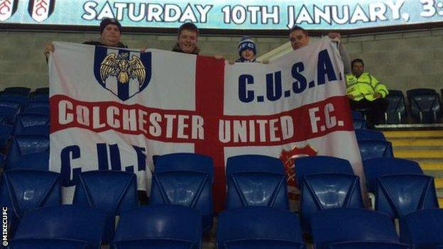 Michael Welsh and Colchester United fans at Cardiff