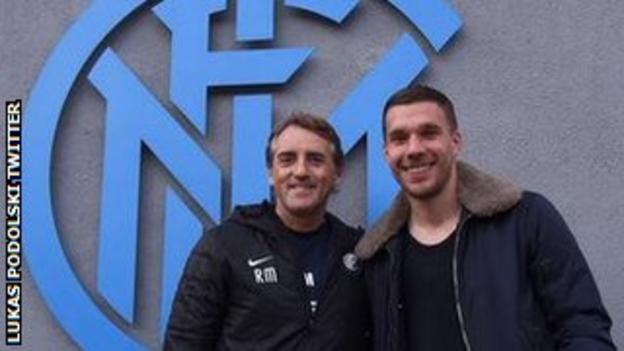 Lukas Podolski and Roberto Mancini