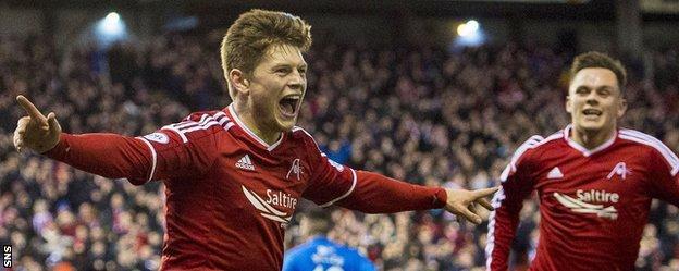 Cammy Smith celebrates scoring for Aberdeen against St Johnstone