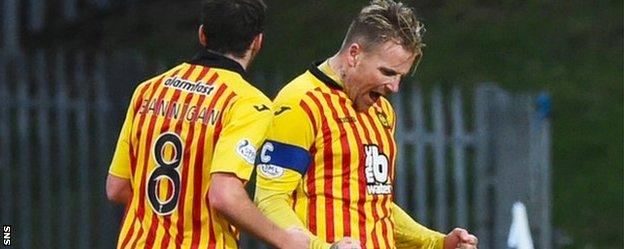 Ryan Stevenson (right) celebrates scoring for Partick Thistle