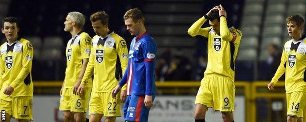 St Mirren captain Steven Thompson looks disconsolate at the final whistle