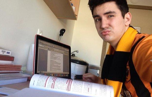Harrison Dent gets in some revision cramming