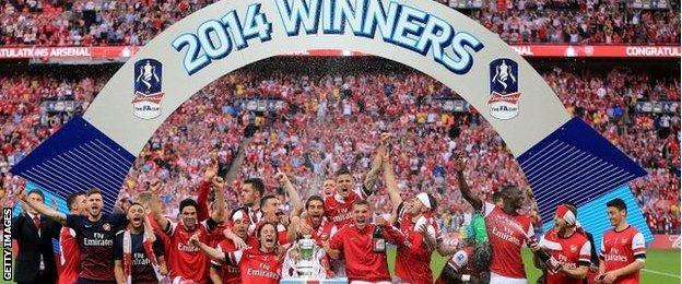 Arsenal celebrate winning FA Cup