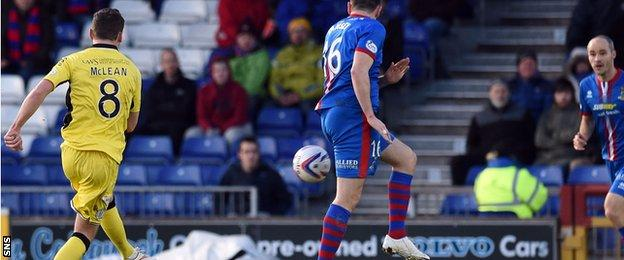 Kenny McLean has a shot for St Mirren against Inverness