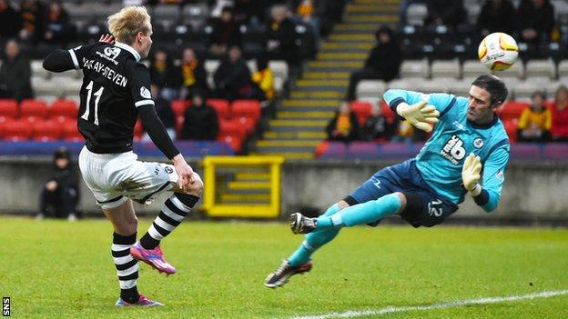 Gary Mackay-Steven scores for Dundee United against Partick Thistle