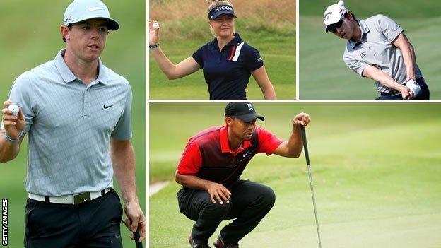 Rory McIlroy, Tiger Woods, Charley Hull and Sang Moon Bae