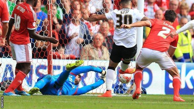 Leon Best in action against Nottingham Forest