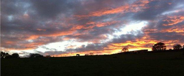 scenic image of the North Cheshire country at sunset