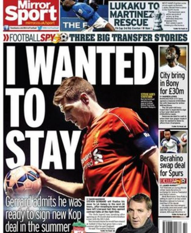 Wednesday's Daily Mirror back page