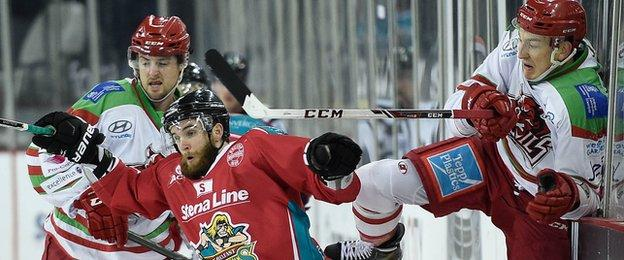 Giants forward Darryl Lloyd (centre) in combative action during the Challenge Cup game against Cardiff