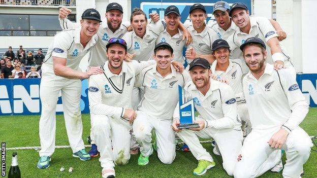 New Zealand celebrate a 2-0 series win