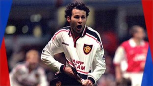 Ryan Giggs celebrates scoring for Manchester United in the FA Cup