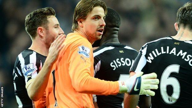 Goalkeeper Tim Krul playing for Newcastle United in the Premier League