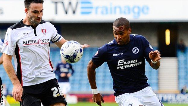 Jermaine Easter (right) battles for the ball with Craig Morgan