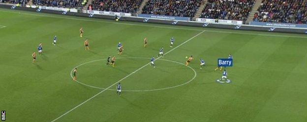 Gareth Barry was Everton's last defender when Nikica Jelavic broke away to score Hull's second goal