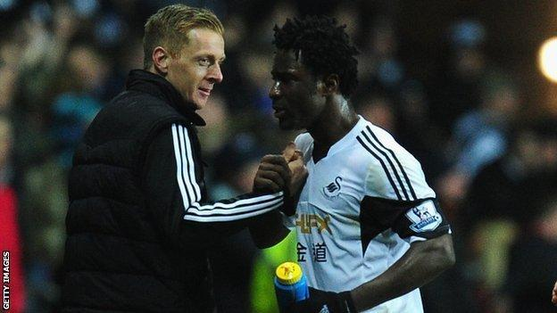 Garry Monk and Wilfried Bony