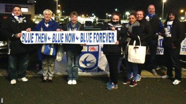 Fans outside Thursday evening's meeting