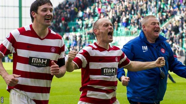 Martin Canning, Alex Neil and Frankie McAvoy celebrate with Hamilton