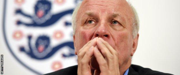 Football Association chairman Greg Dyke speaks during a press conference to announce the findings from the England Commission