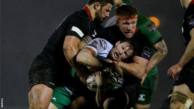 Ross Ford and Roddy Grant tackle Connacht's Kieran Marmion in Galway