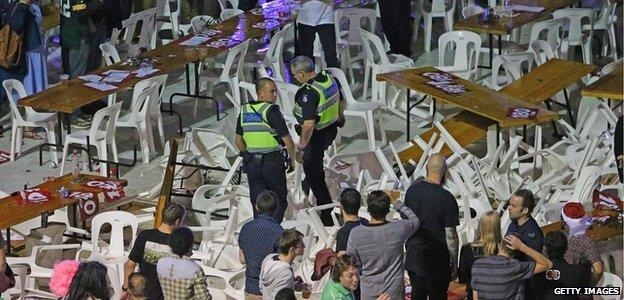 Police at a darts riot in Melbourne