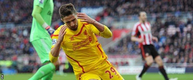 Liverpool striker Fabio Borini shows his disappointment after missing a chance against Sunderland