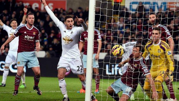 Swansea celebrate a goal against West Ham