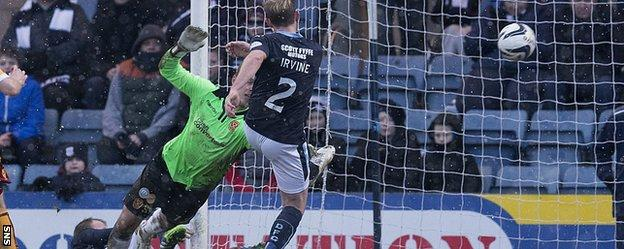 Gary Irvine fires Dundee into a 3-1 lead against Motherwell