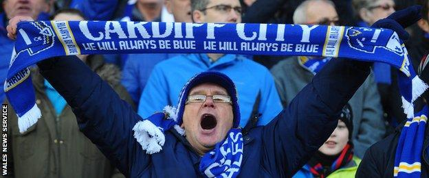 Cardiff fans welcome the return to blue