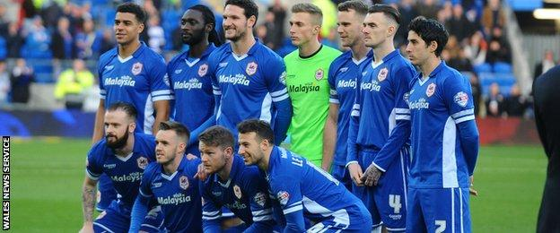 Cardiff line up in the their traditional blue strip