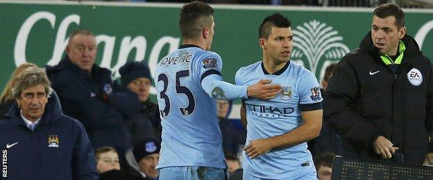 Manchester City striker Sergio Aguero (second right) makes his comeback to action after being out since 6 December last year