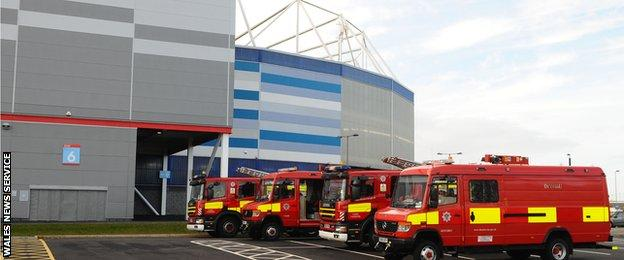 Fire engines were needed at the Cardiff City Stadium