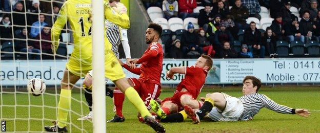 Shay Logan added Aberdeen's second goal from close range