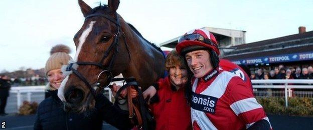 Sam Twiston-Davies with Hawkes Point