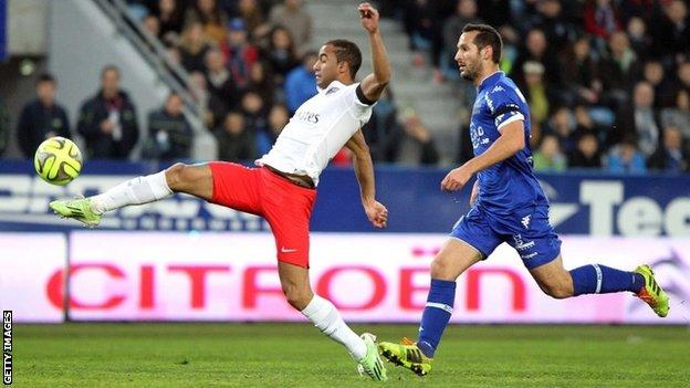 Lucas Moura gave PSG the lead with a brilliant effort over keeper Alphonse Areola, who is on loan from PSG