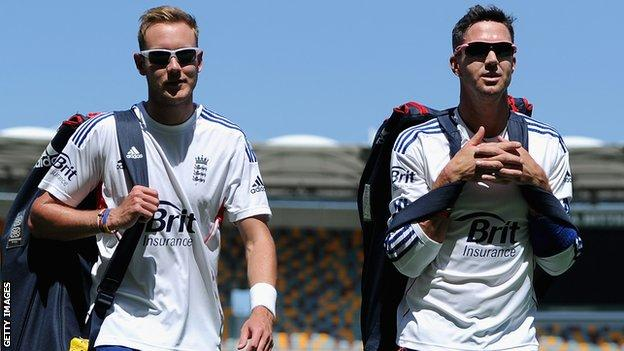 Former England team-mates Stuart Broad (left) and Kevin Pietersen