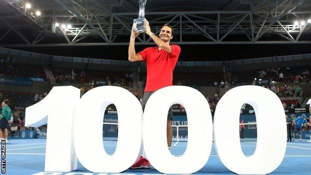 Roger Federer becomes only the third player, after Ivan Lendl and Jimmy Connors, to win at least 1,000 matches