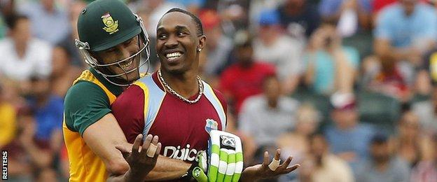 South Africa skipper Faf du Plessis and West Indies' Dwayne Bravo