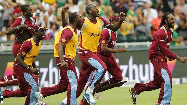 West Indies celebrate their win