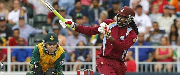 West Indies' Chris Gayle hits out against South Africa