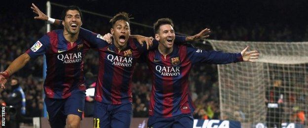 Lionel Messi, Neymar and Luis Suarez