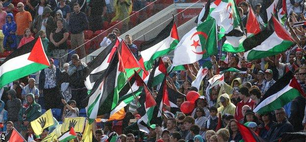 Palestine fans at the Asian Cup