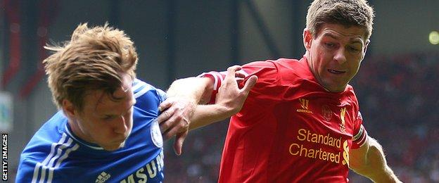 Tomas Kalas and Steven Gerrard