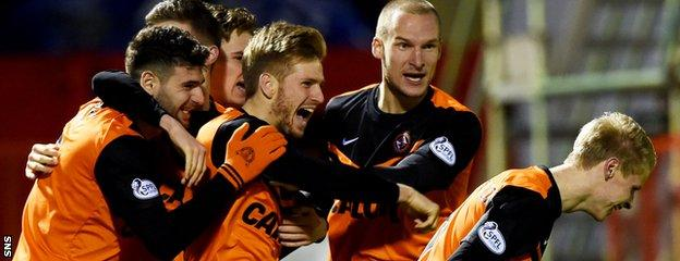 Dundee United celebrate as Stuart Armstrong opens the scoring