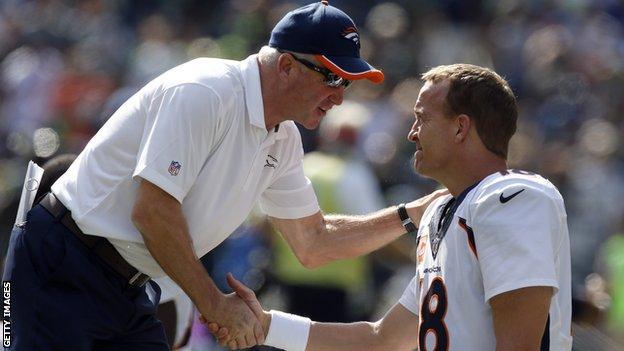 John Fox and Denver Broncos quarterback Peyton Manning