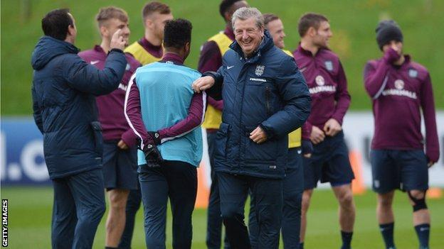 Roy Hodgson and his England players