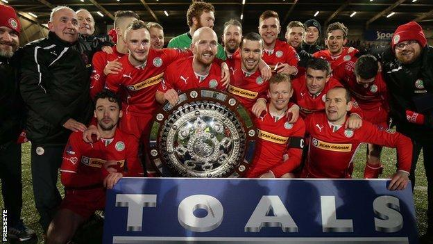 Cliftonville celebrate after winning the County Antrim Shield
