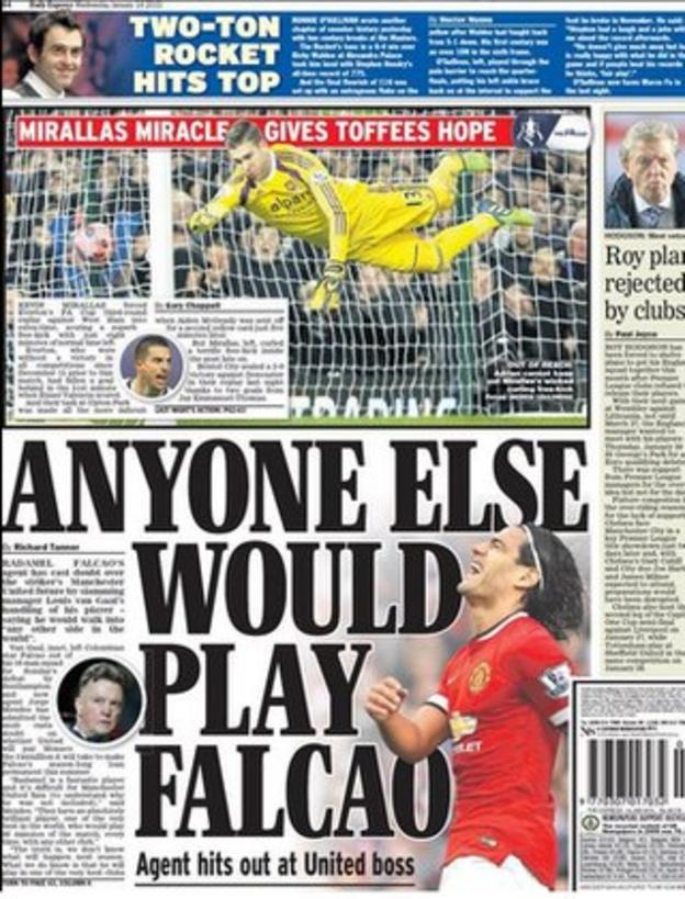 Wednesday's Daily Express back page